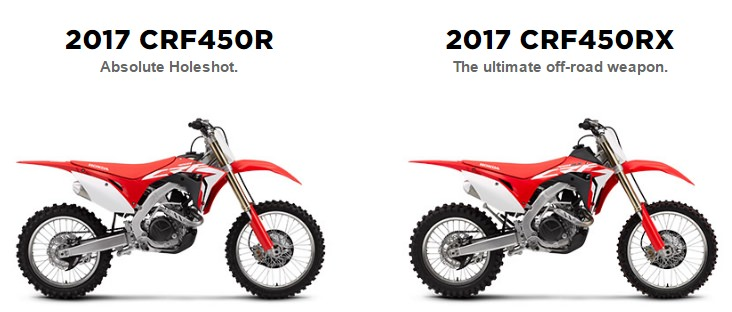 2017 Honda CRF450R vs CRF450RX Comparison Review / Specs