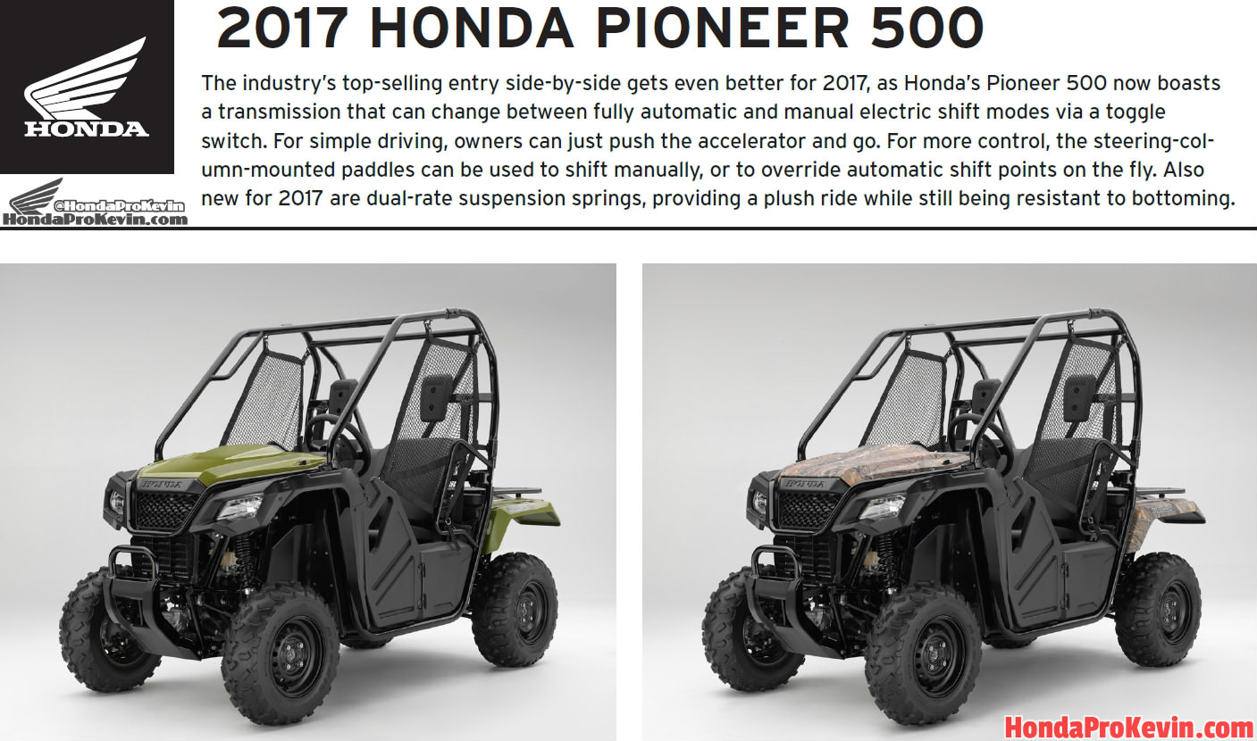 2017 Honda Pioneer 500 Review / Specs & Changes - HP & TQ, Price, Colors - Side by Side ATV / UTV / SxS / Utility Vehicle 4x4