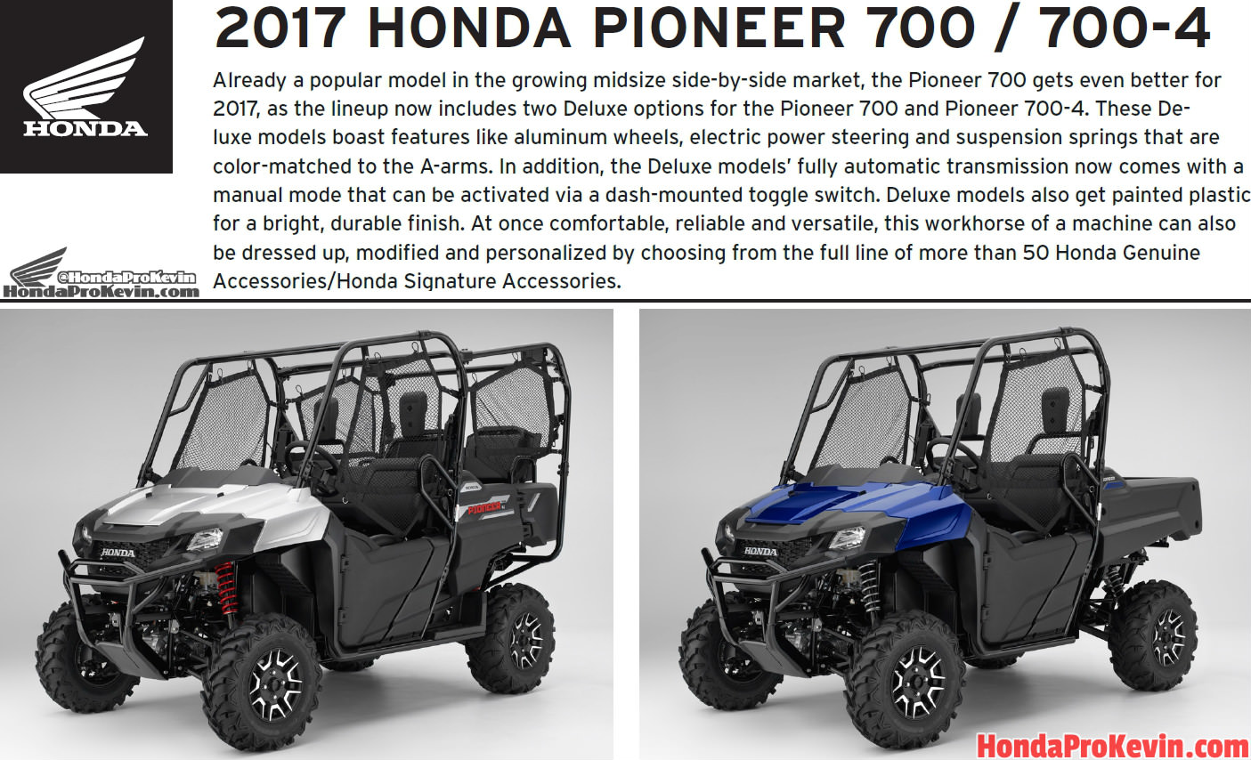 2017 Honda Pioneer 700 & 700-4 Review / Specs & Changes - HP & TQ, Price, Colors - Side by Side ATV / UTV / SxS / Utility Vehicle 4x4