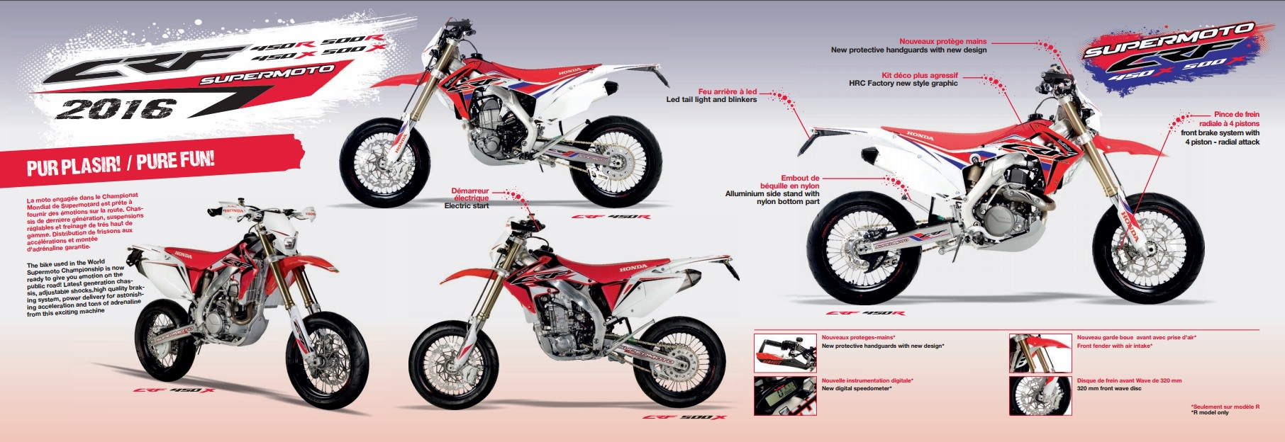2017 Honda CRF450R SuperMoto Motard Bike / Motorcycle Review & Specs - CRF450R, CRF450X, CRF500R, CRF500X CRF Models