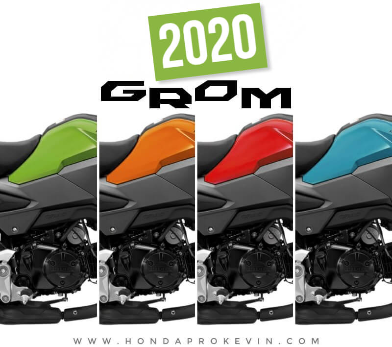 2020 Honda Grom 125 Colors | Options: Cherry Red, Halloween Orange, Incredible Green, Blue Raspberry