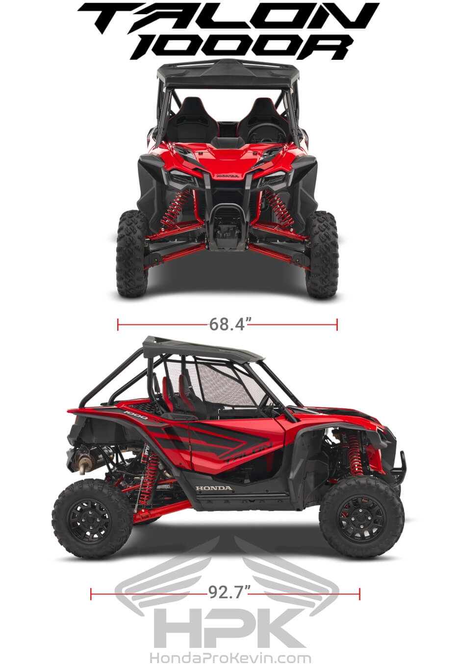 Honda TALON 1000R Dimensions: Width, Length, Wheelbase Specs | TALON 1000 R Sport SxS / UTV / Side by Side ATV