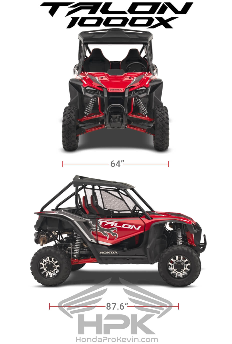 Honda TALON 1000X Dimensions: Width, Length, Wheelbase Specs | TALON 1000 X Sport SxS / UTV / Side by Side ATV