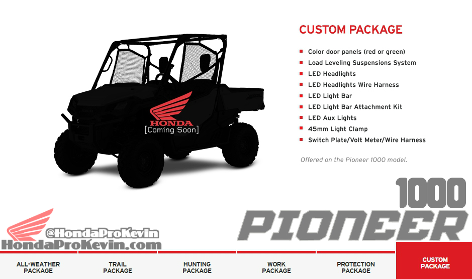 Custom 2016 Honda Pioneer 1000 Side by Side / UTV / SxS Accessories Custom Package