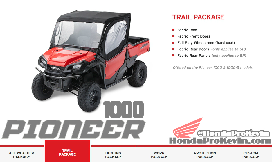 2016 Honda Pioneer 1000 Side by Side / UTV / Accessories Trail Package SXS1000