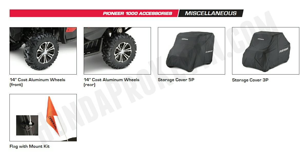 Honda Pioneer 1000 Accessories - Custom Aluminum Wheels - Storage Cover - Pioneer 1000 Side by Side / UTV / SxS / ATV