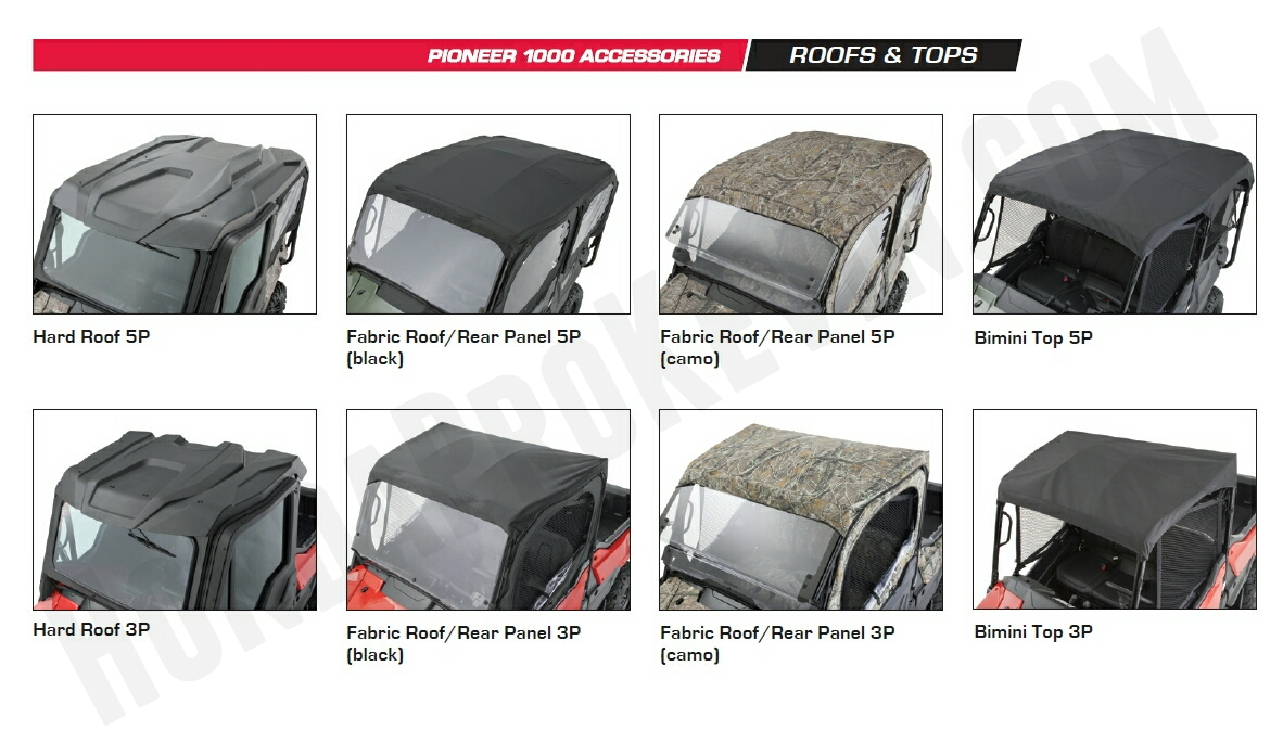Honda Pioneer 1000 Accessories - Hard Roof - Hard Top - Bimini Top - Fabric Soft Roof / Top - Pioneer 1000 Side by Side / UTV / SxS / ATV