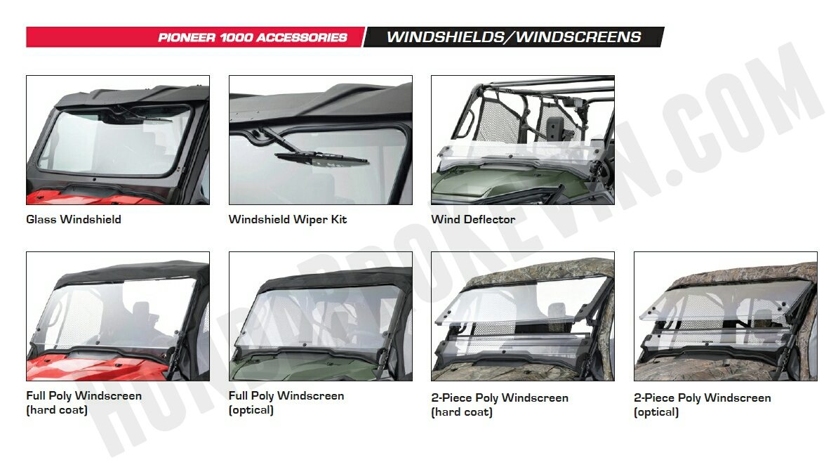 Honda Pioneer 1000 Accessories - Windscreen - Windshield - Wind Deflector - Poly Windscreen - Pioneer 1000 Side by Side / UTV / SxS / ATV