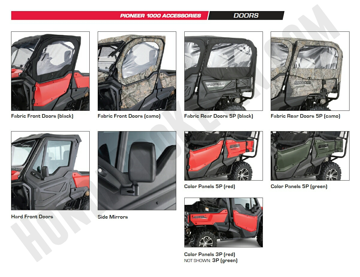 Honda Pioneer 1000 Accessories - Color Door Panels - Front & Rear Doors - Side Mirror - Pioneer 1000 Side by Side / UTV / SxS / ATV