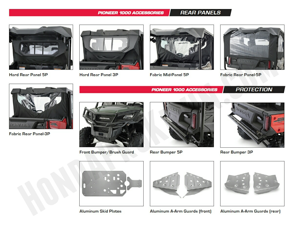 Honda Pioneer 1000 Accessories - Front Bumper - Rear Bumper - A Arm Guards - Mid & Rear Panel - Pioneer 1000 Side by Side / UTV / SxS / ATV