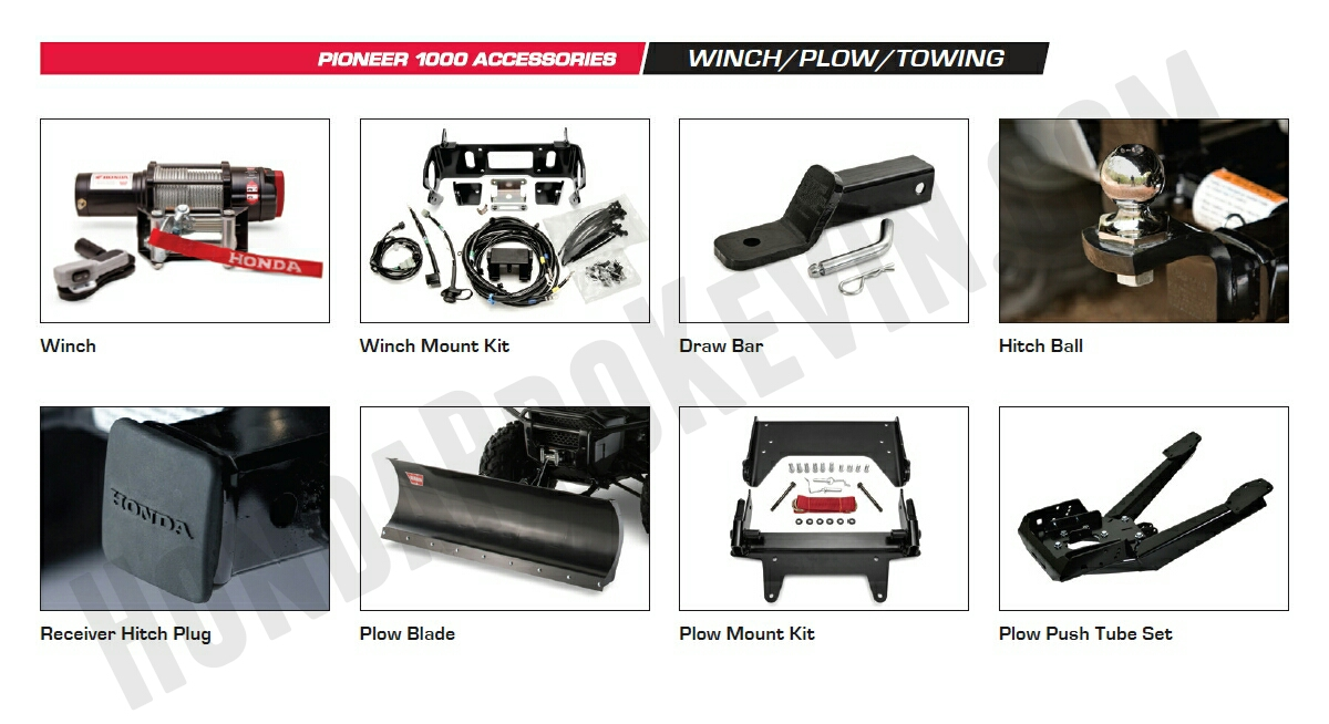 Honda Pioneer 1000 Accessories - Warn Winch Kit - Plow Blade - Pioneer 1000 Side by Side / UTV / SxS / ATV
