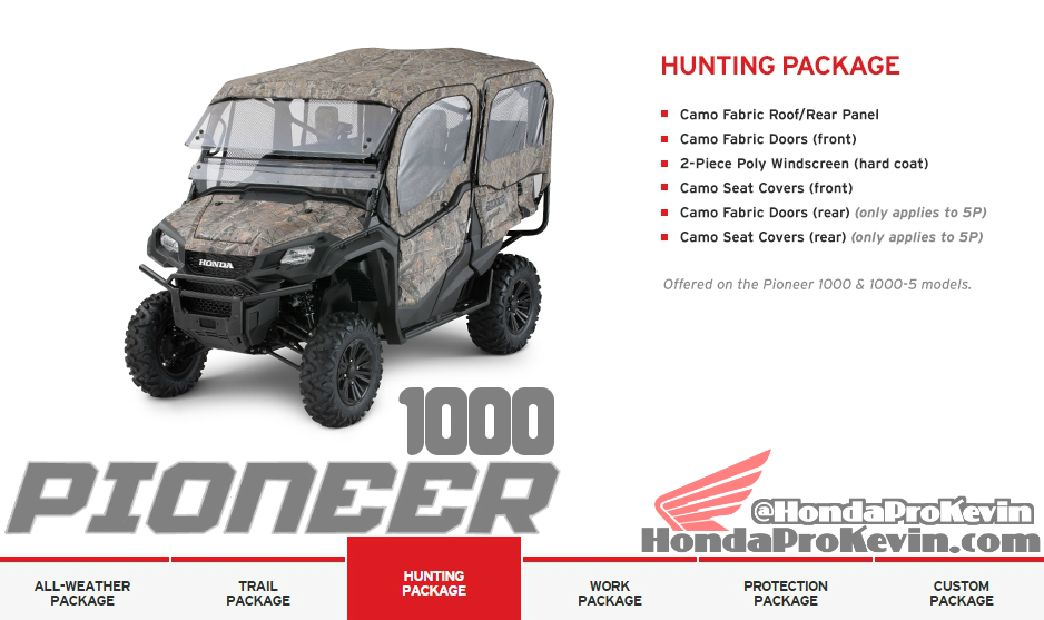 2016 Honda Pioneer 1000 Side by Side / UTV / SxS Accessories Hunting Package