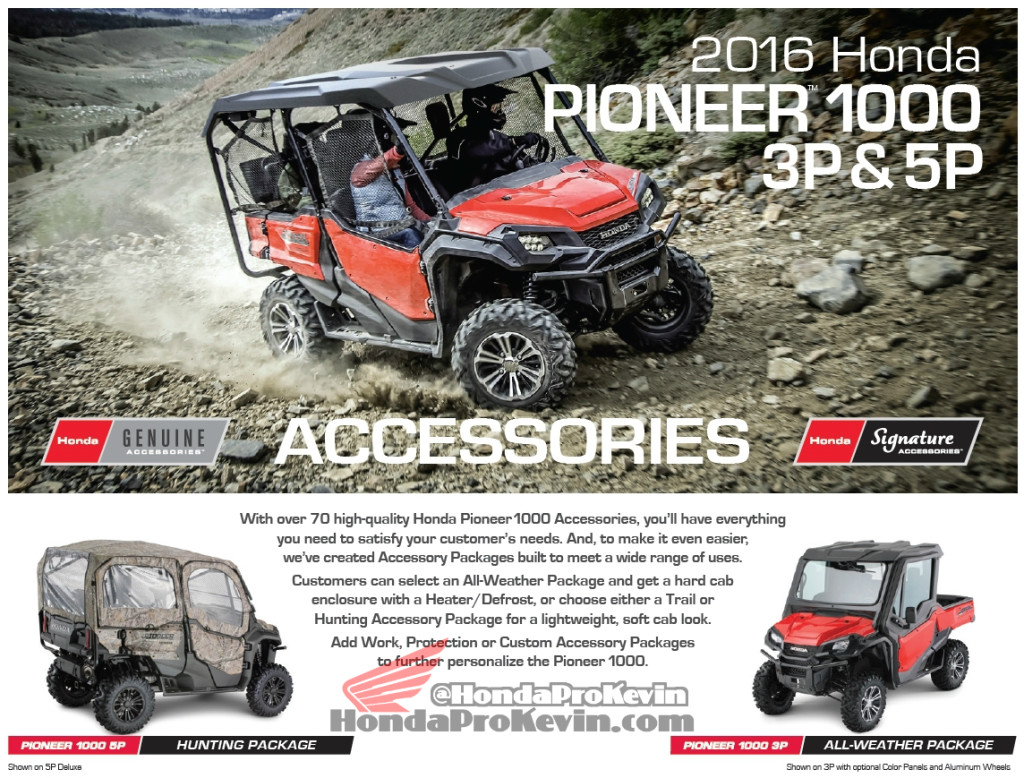 Custom 2016 Honda Pioneer 1000 Side by Side - UTV - Accessories - Parts - Packages SXS 1000 cc
