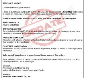 UPDATE : 2014 - 2015 Honda Grom 125 Motorcycle Recall / Stop Sale