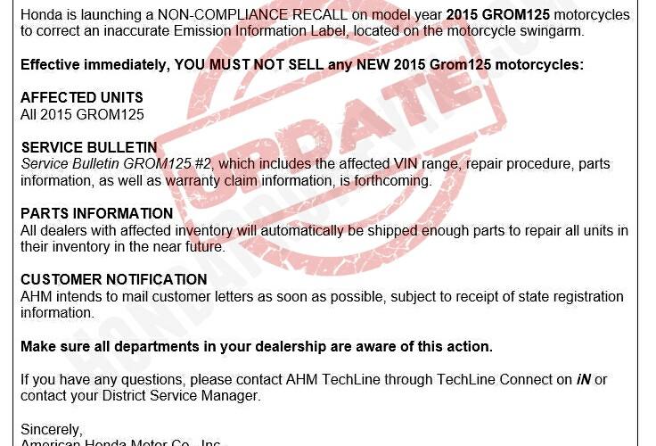 Update 2014 2015 honda grom 125 motorcycle stop sale for Honda service bulletin