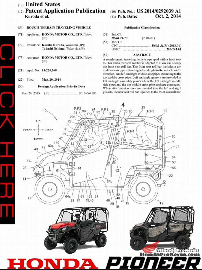 2016 Honda Pioneer 1000-5 Deluxe Patent Specs - Seating - Frame - Suspension Details - 1000 cc Side by Side ATV / UTV / SxS