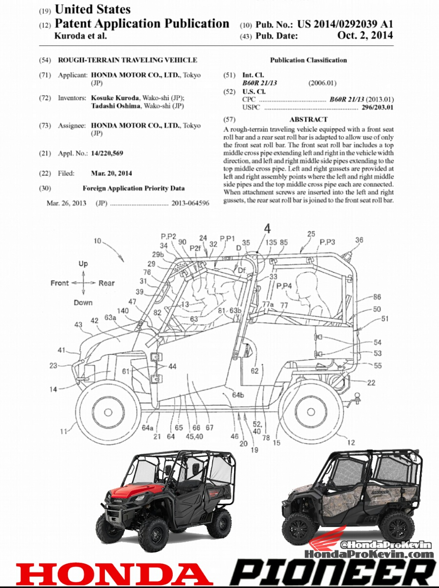 2016 Honda Pioneer 1000-5 SxS Patent Application Documents ...