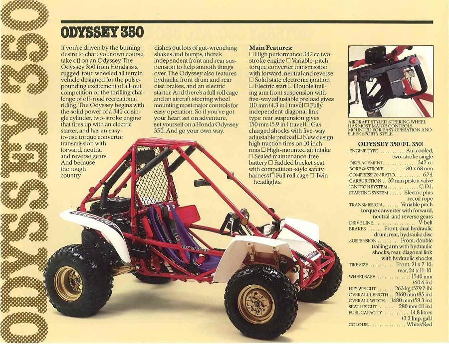 2017 Honda Sport 1000 SxS / UTV / Side by Side ATV - 1985 Honda FL350 Odyssey