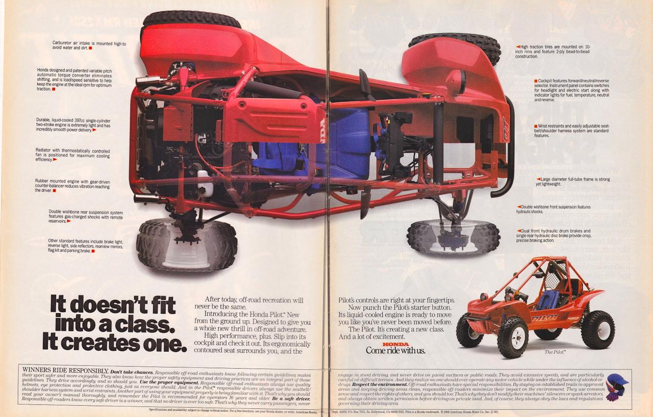 2017 Honda Sport 1000 SxS / UTV / Side by Side ATV - 1990 Honda FL400R Pilot