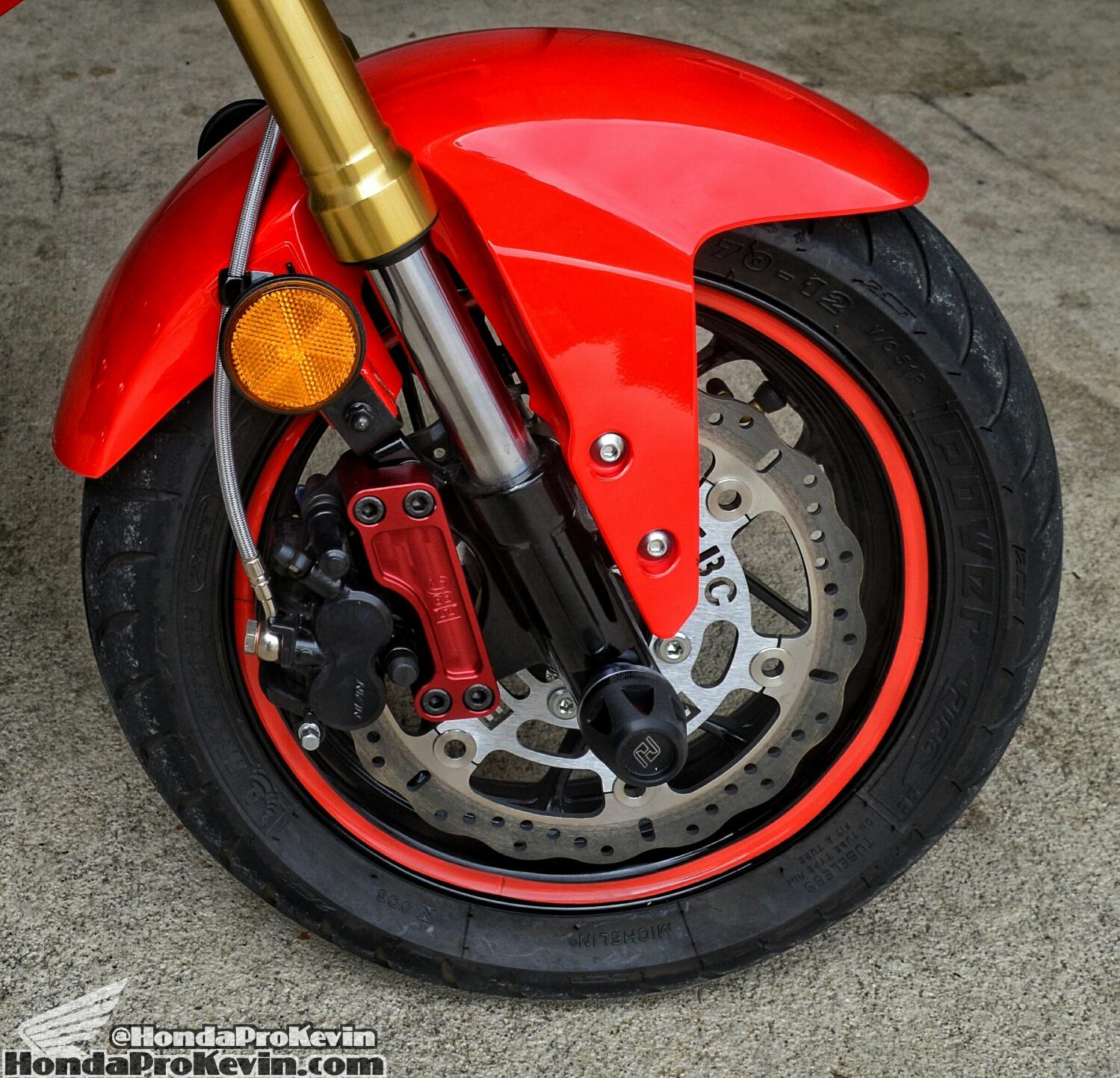Custom Honda Grom MSX 125 EBC Oversized Front Wave Brake Rotor - Galfer SS Lines - Red Wheel / Rim Tape - Michelin Power Pure SC Tires