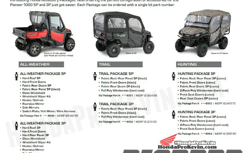 2016 Honda Pioneer 1000 & 1000-5 Accessories Prices / Parts List / Part Numbers