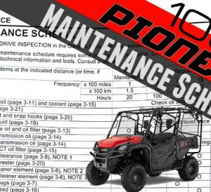 2016 Honda Pioneer 1000 Maintenance & Service Schedule | Oil Changes / Filter - DCT Transmission Fluid - Air Filter - Valve Inspection - SXS1000M3 EPS / SXS1000M5 Deluxe