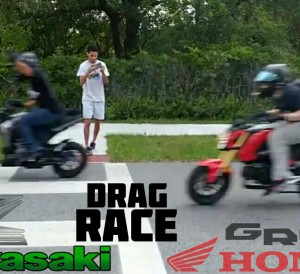 2016 Honda Grom vs Kawasaki Z125 Race Video | 125 cc Mini Bike / Motorcycle Drag Race