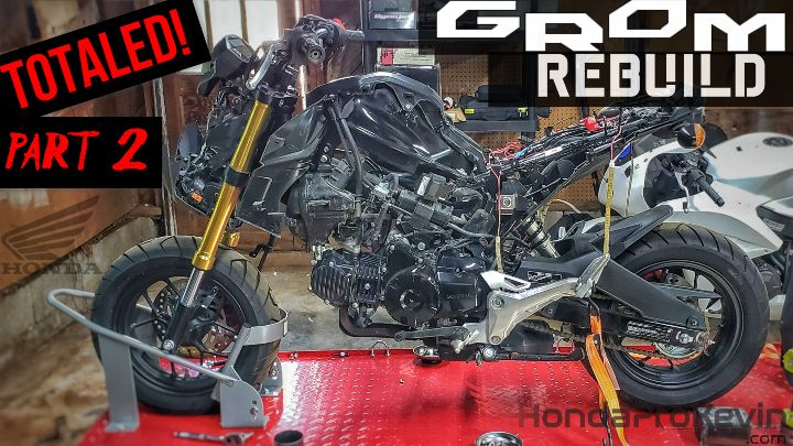 Video Part 2: Wrecked Honda Grom 125 Motorcycle Rebuild / Copart Auction | Salvage Title = Totaled
