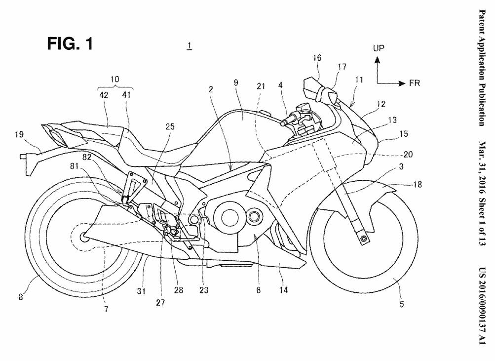 new 2017  honda motorcycle patents filed