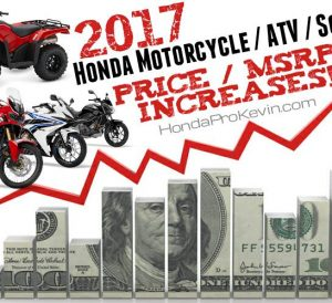 Prices - 2017 Honda Motorcycles, ATV, Scooter Models / Review
