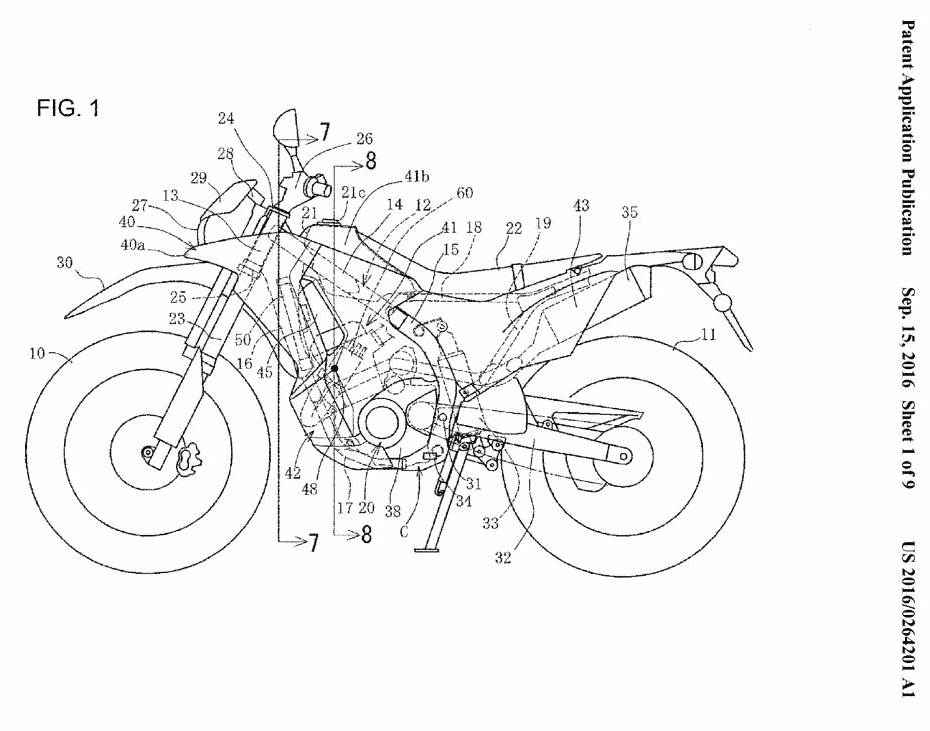 new honda crf250 rally motorcycle patents filed