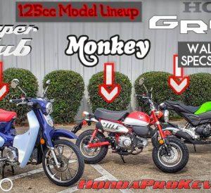 Comparison Video Review: 2019 Honda GROM VS Monkey VS Super Cub 125 Motorcycles / Mini Bike Review & Specs
