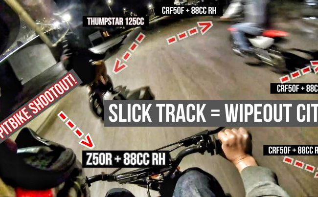 Honda Pit Bike Racing = Wrecks / Fails on Indoor Slick Track | CRF50 88cc VS Z50R VS CRF70 VS CRF110 VS Thumpstar Mini Motorcycle Dirt Bikes!