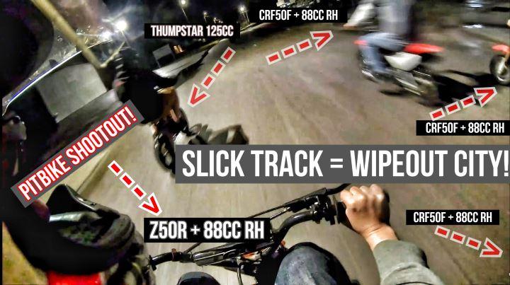Honda Pit Bike Racing = Wrecks / Fails on Indoor Slick Track | CRF50 88cc VS Z50R VS CRF70 VS CRF110 VS Thumpstar Mini Motorcycle Dirt Bikes!