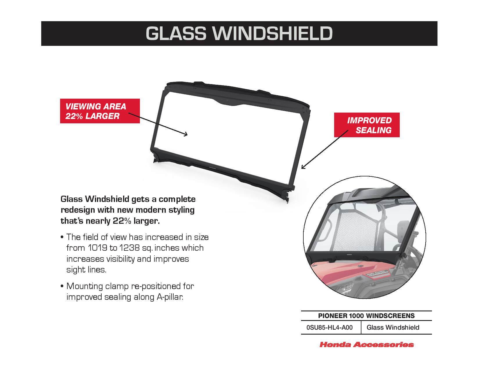 Honda Pioneer 1000 Glass Windshield / Windscreen | 0SU85-HL4-A00
