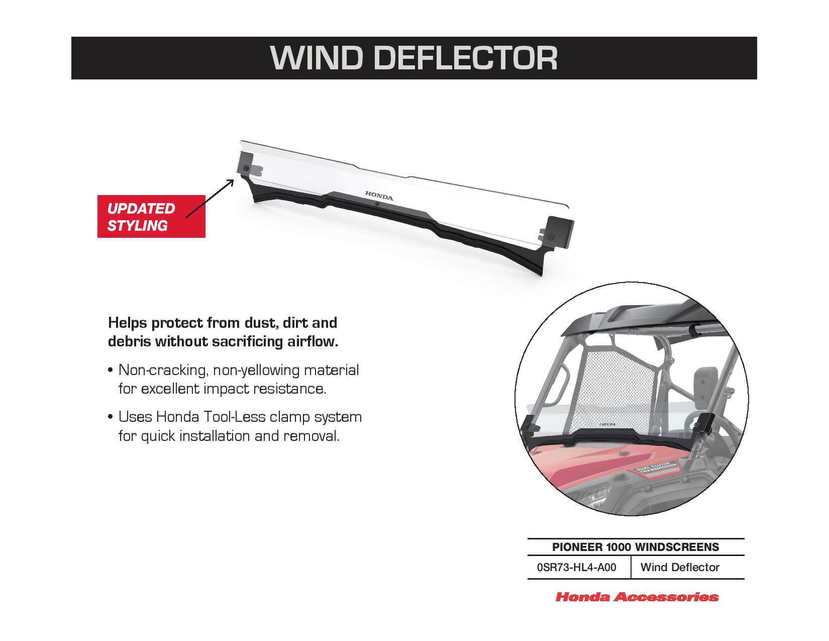 Honda Pioneer 1000 Wind Deflector | 0SR73-HL4-A00