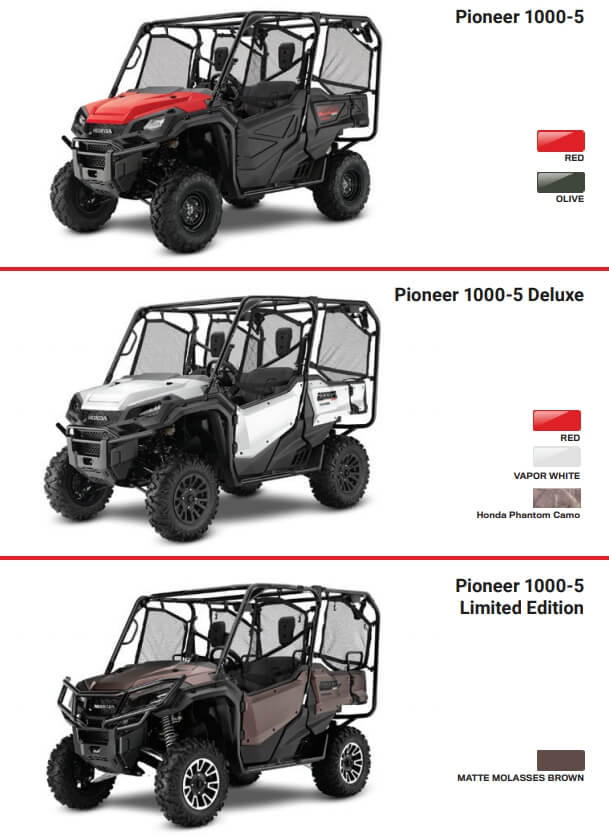 2021 Honda Pioneer 1000-5 Model Lineup / Colors | 2021 Pioneer 1000-5 Deluxe, 2021 Pioneer 1000-5 Limited Edition, Pioneer 1000-5 EPS Base Model