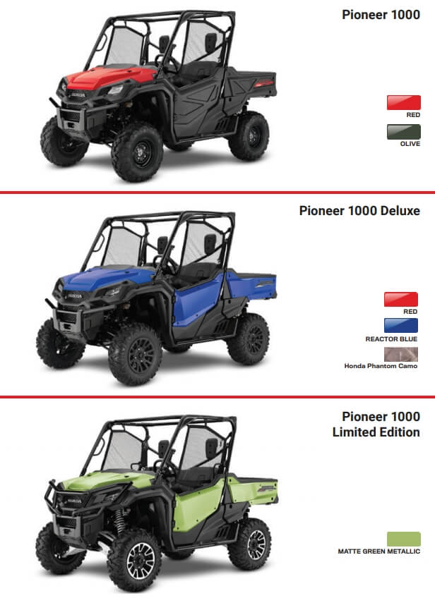 2021 Honda Pioneer 1000 Model Lineup / Colors | 2021 Pioneer 1000 Deluxe, 2021 Pioneer 1000 Limited Edition, Pioneer 1000 EPS Base Model