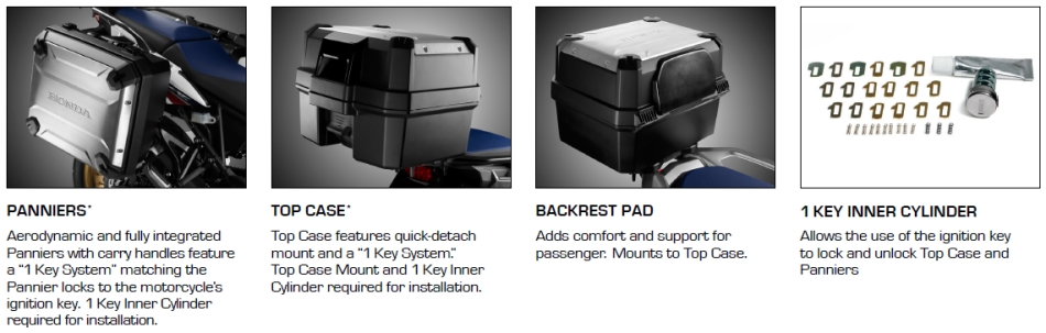 2016 Honda Africa Twin CRF1000L Accessories / Prices - Saddlebags / Panniers - Trunk / Top Case - Center Stand - Tall Windshield - Crash / Light bar