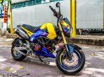custom-honda-grom-msx125-blue-exhaust-wheels-swingarm-cowl-fairings-lowered-headlight-carbon-fiber-