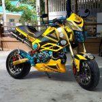 custom-honda-grom-yellow-belly-pan-cowl-wheels-frame-seat