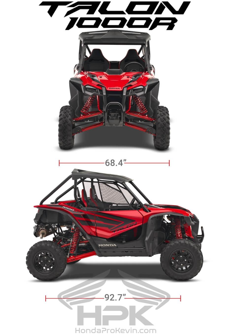 Honda TALON 1000R Dimensions: Width, Length, Wheelbase Specs | TALON 1000 R Sport SxS / UTV / Side by Side ATV
