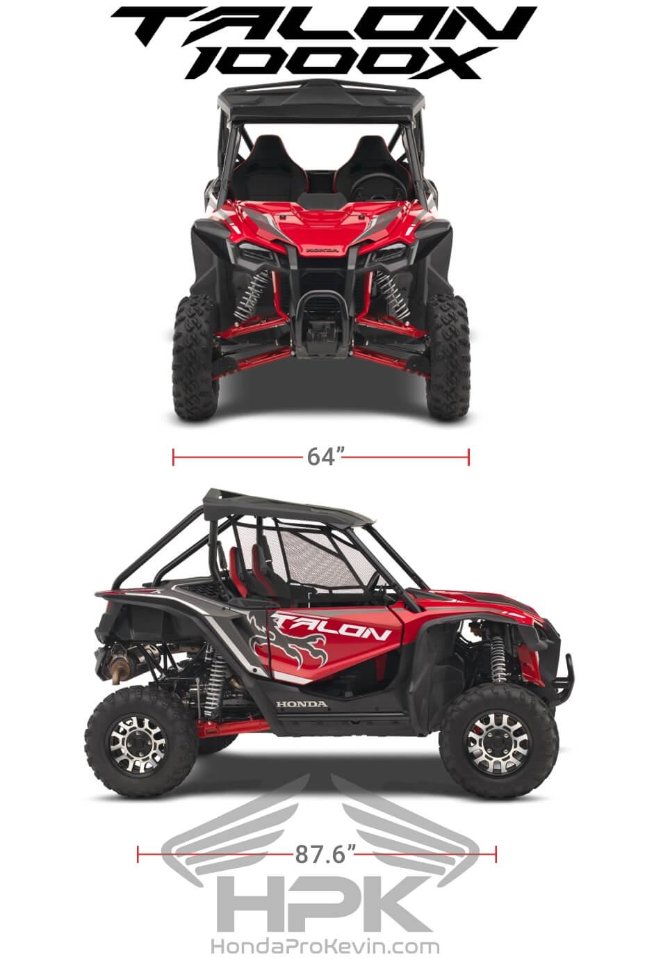 Honda TALON 1000X Dimensions: Width, Length, Wheelbase Specs | TALON 1000 X Sport SxS / UTV / Side by Side ATV