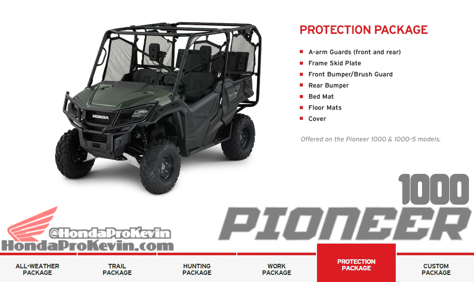 2016 Honda Pioneer 1000 Side by Side / UTV / SxS Accessories Protection Package