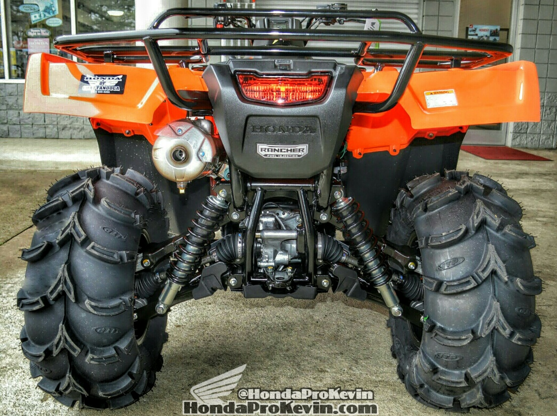 2016 Honda Rancher TRX 420 ATV ITP SS Wheels - Mud Tires - Orange Four Wheeler - Quad
