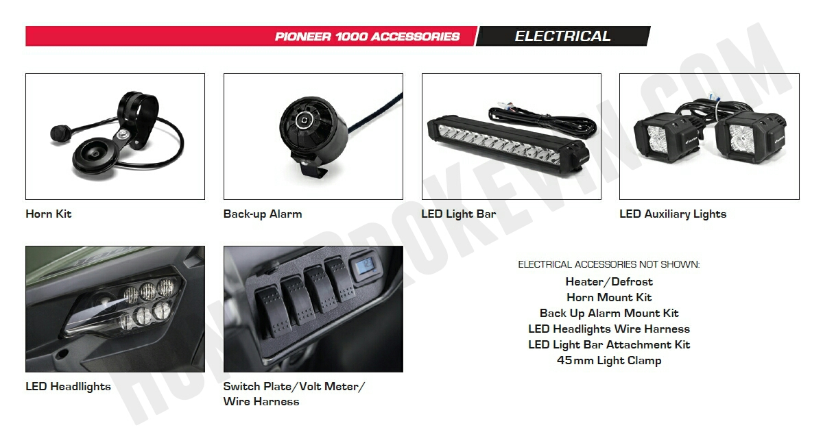 Honda Pioneer 1000 Accessories - LED Headlights - LED Light Bar - Switch Plate - Volt Meter - Horn Kit - Pioneer 1000 Side by Side / UTV / SxS / ATV