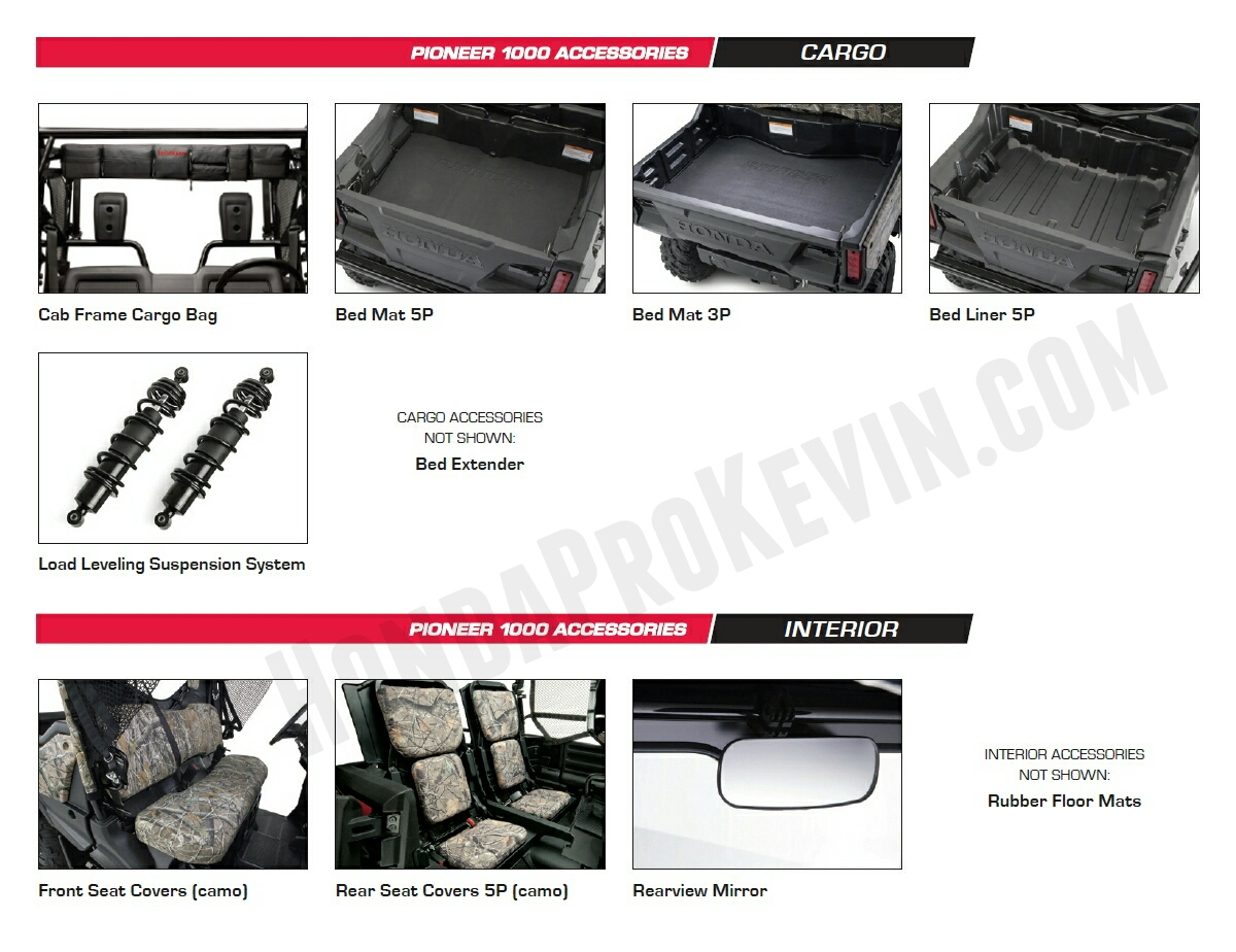Honda Pioneer 1000 Accessories - Bed Mat - Seat Covers - Load Leveling Rear Suspension Pioneer 1000 Side by Side / UTV / SxS / ATV