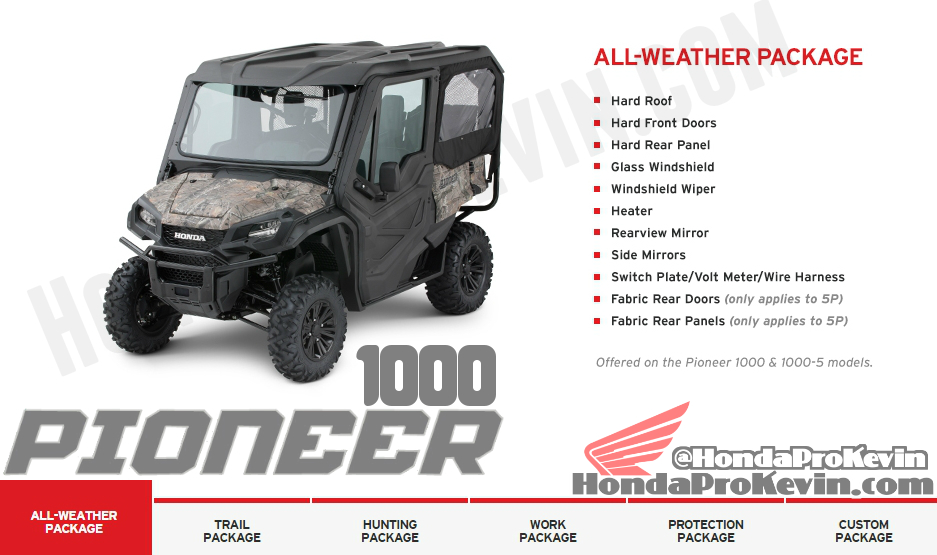 2016 Honda Pioneer 1000 Side by Side / UTV / SxS Accessories All Weather Package