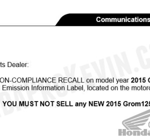 2014 - 2015 Honda Grom 125 Motorcycle Stop Sale - News - Announcement
