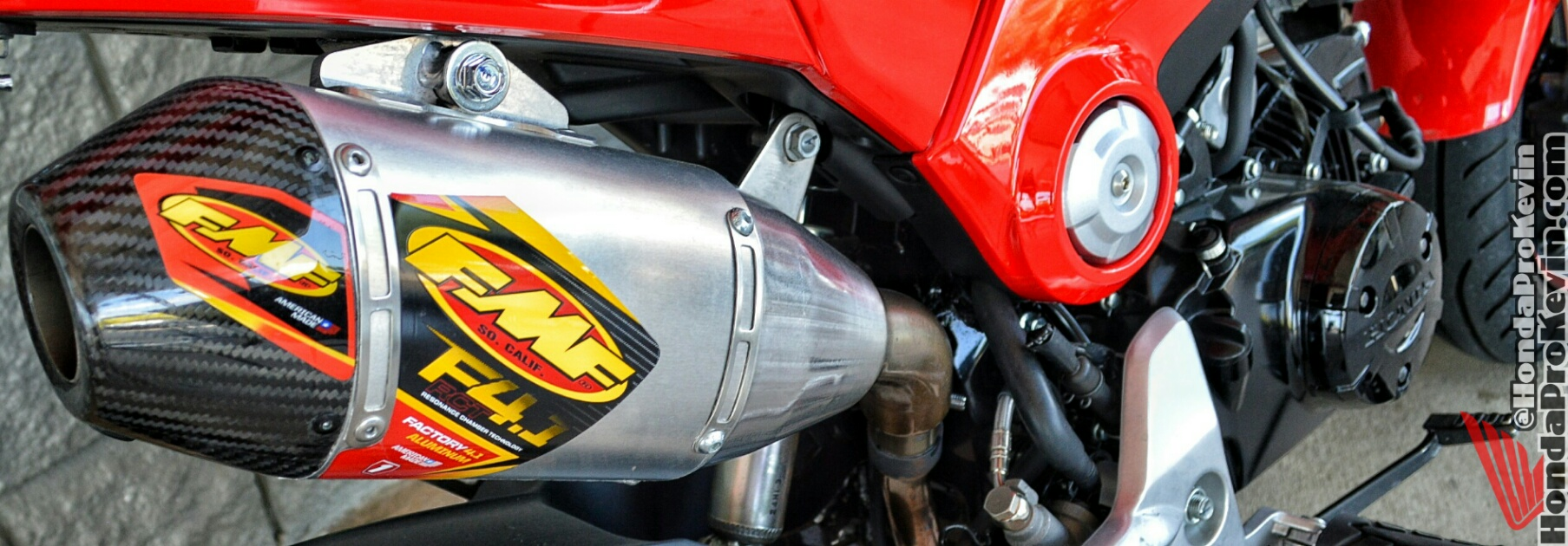 Custom Honda Grom / MSX 125 FMF Exhaust - Carbon Fiber Muffler - Motorcycle / Bike Aftermarket Parts